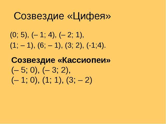 Созвездие «Цифея» (0; 5), (– 1; 4), (– 2; 1), (1; – 1), (6; – 1), (3; 2), (-1...