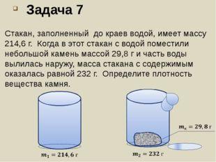 Задача 7 Стакан, заполненный до краев водой, имеет массу 214,6 г. Когда в это