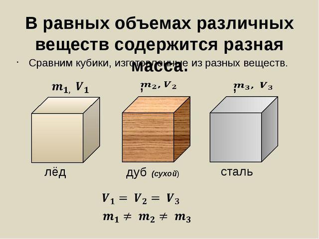 В равных объемах различных веществ содержится разная масса. Сравним кубики, и...