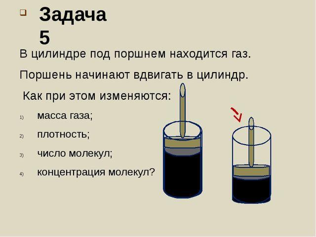 В цилиндре под поршнем находится газ. Поршень начинают вдвигать в цилиндр. Ка...