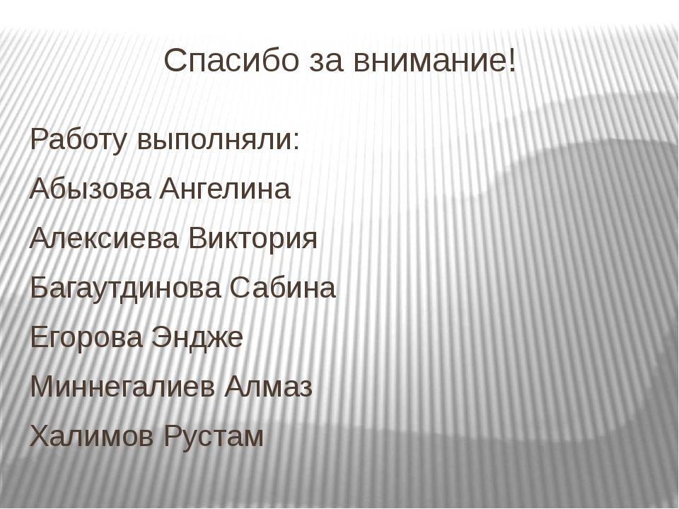 Спасибо за внимание! Работу выполняли: Абызова Ангелина Алексиева Виктория Ба...