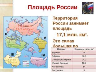 Площадь России Территория России занимает площадь 17,1 млн. км². Это самая бо