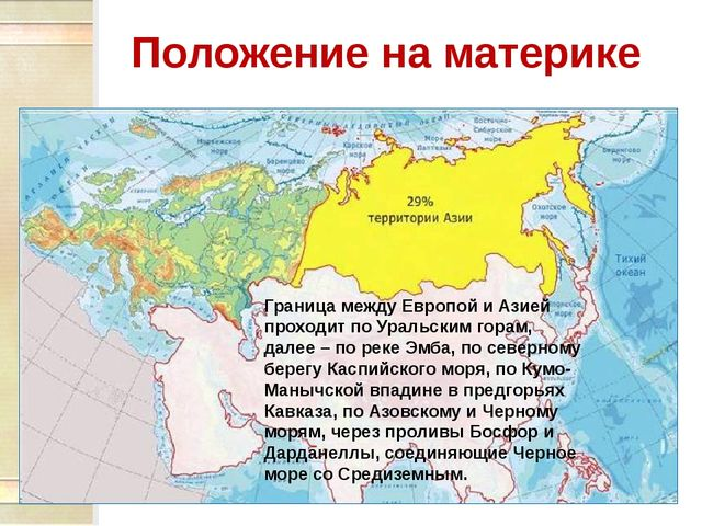 Положение на материке Граница между Европой и Азией проходит по Уральским гор...