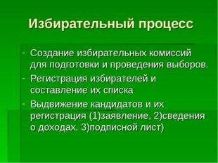 Избирательный процесс Создание избирательных комиссий для подготовки и провед
