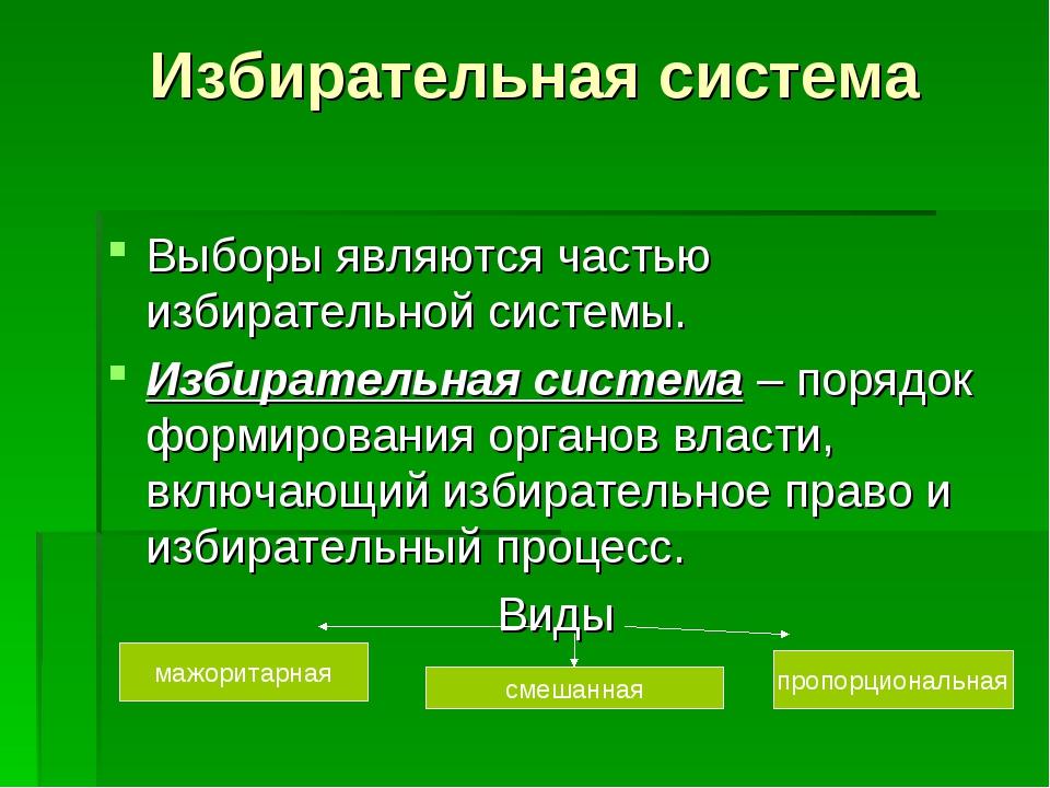 Избирательная система Выборы являются частью избирательной системы. Избирател...