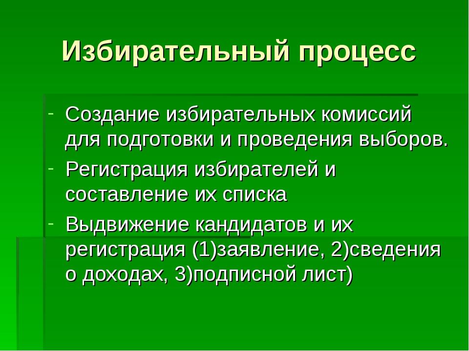 Избирательный процесс Создание избирательных комиссий для подготовки и провед...