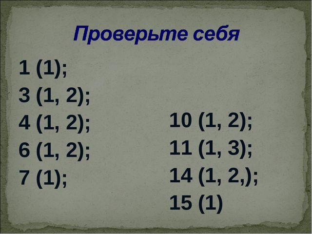 1 (1); 3 (1, 2); 4 (1, 2); 6 (1, 2); 7 (1); 10 (1, 2); 11 (1, 3); 14 (1, 2,);...