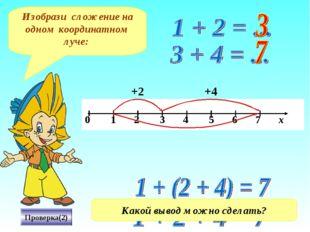 Изобрази сложение на одном координатном луче: Проверка(2) +4 +2 Какой вывод м
