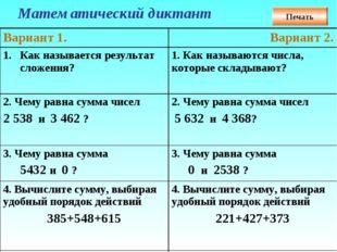 Математический диктант Печать Вариант 1.Вариант 2. Как называется результат
