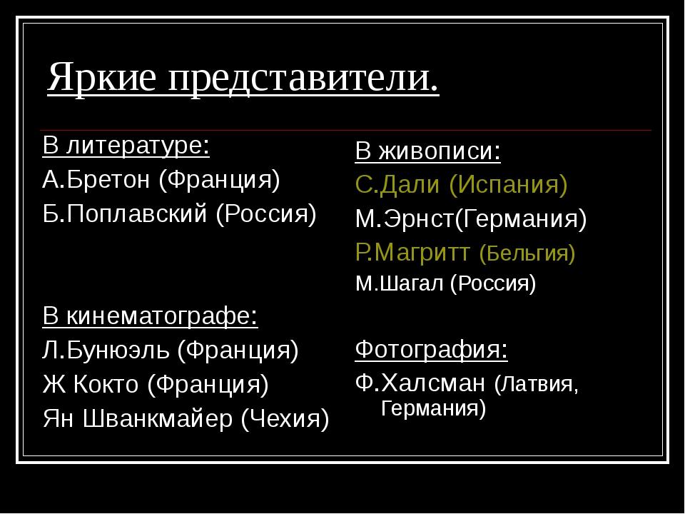 Яркие представители. В литературе: А.Бретон (Франция) Б.Поплавский (Россия) В...