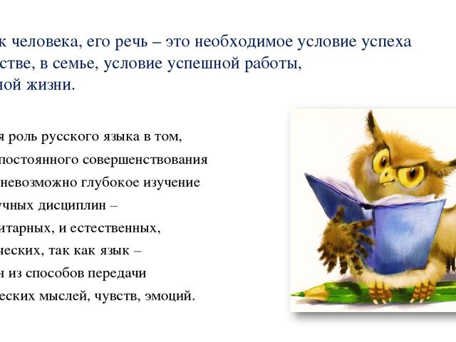Язык человека, его речь – это необходимое условие успеха в обществе, в семье...