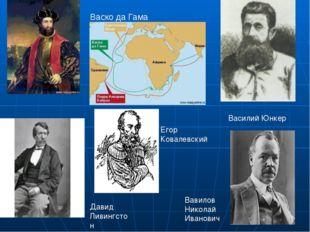 Давид Ливингстон Василий Юнкер Вавилов Николай Иванович Васко да Гама Егор Ко