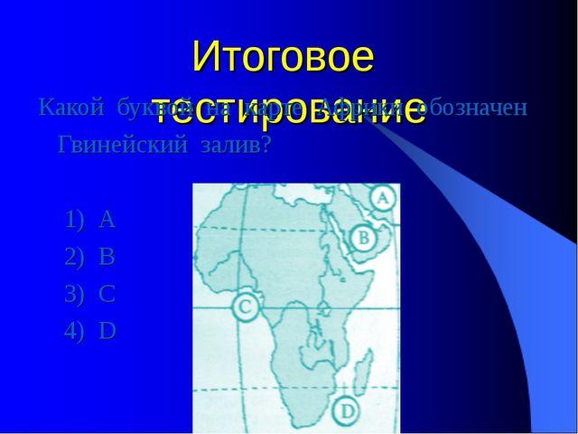 Итоговое тестирование Какой буквой на карте Африки обозначен Гвинейский залив...