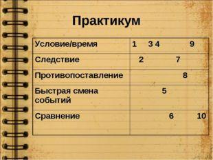 Практикум Условие/время1 3 4 9 Следствие 2 7 Противопоставление 8 Быстрая