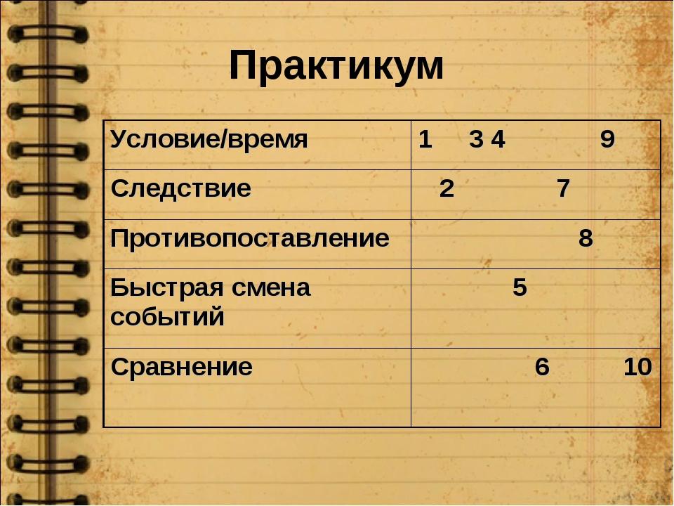 Практикум Условие/время1 3 4 9 Следствие 2 7 Противопоставление 8 Быстрая...