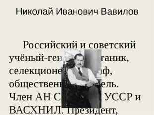 Николай Иванович Вавилов Российский и советский учёный-генетик, ботаник, селе