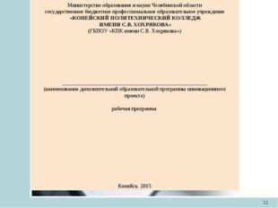 * Министерство образования и науки Челябинской области государственное бюджет