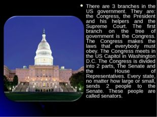 There are 3 branches in the US government. They are: the Congress, the Presid
