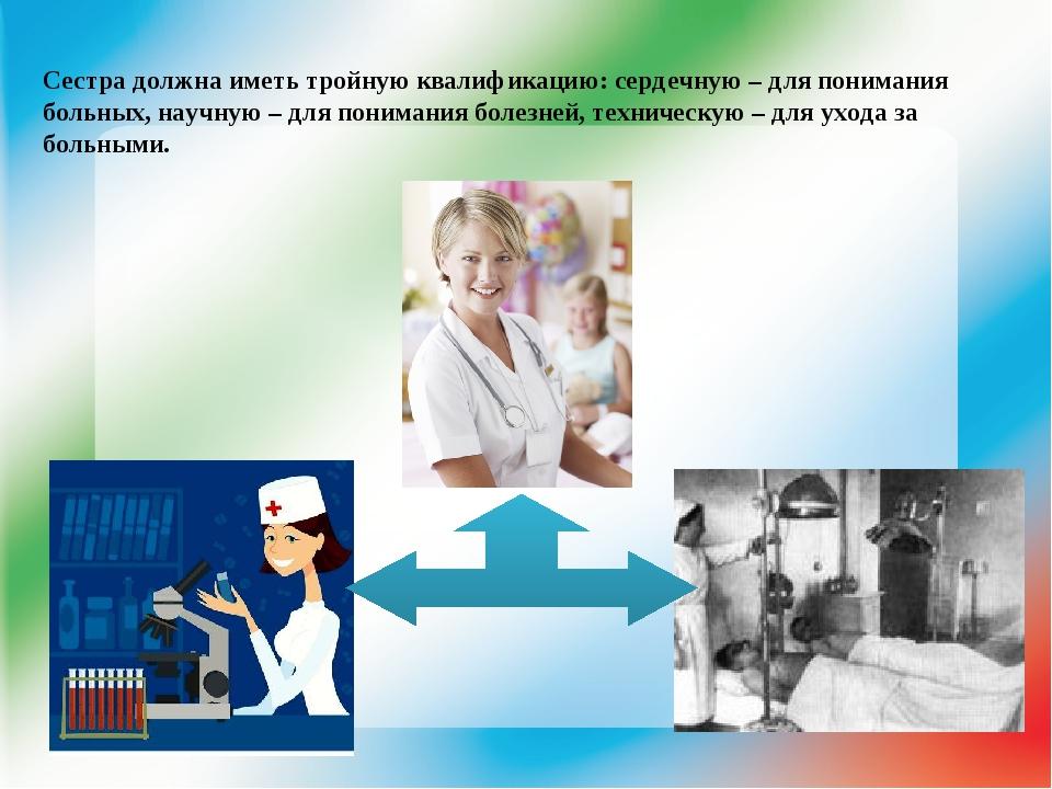 Сестра должна иметь тройную квалификацию: сердечную – для понимания больных,...