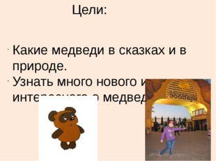Цели: Какие медведи в сказках и в природе. Узнать много нового и интересного