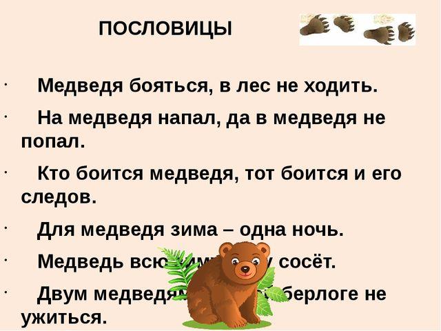 ПОСЛОВИЦЫ  Медведя бояться, в лес не ходить. На медведя напал, да в медведя...