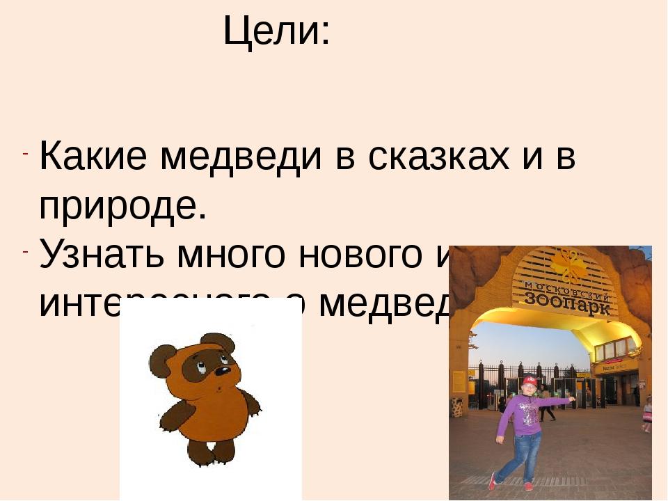 Цели: Какие медведи в сказках и в природе. Узнать много нового и интересного...