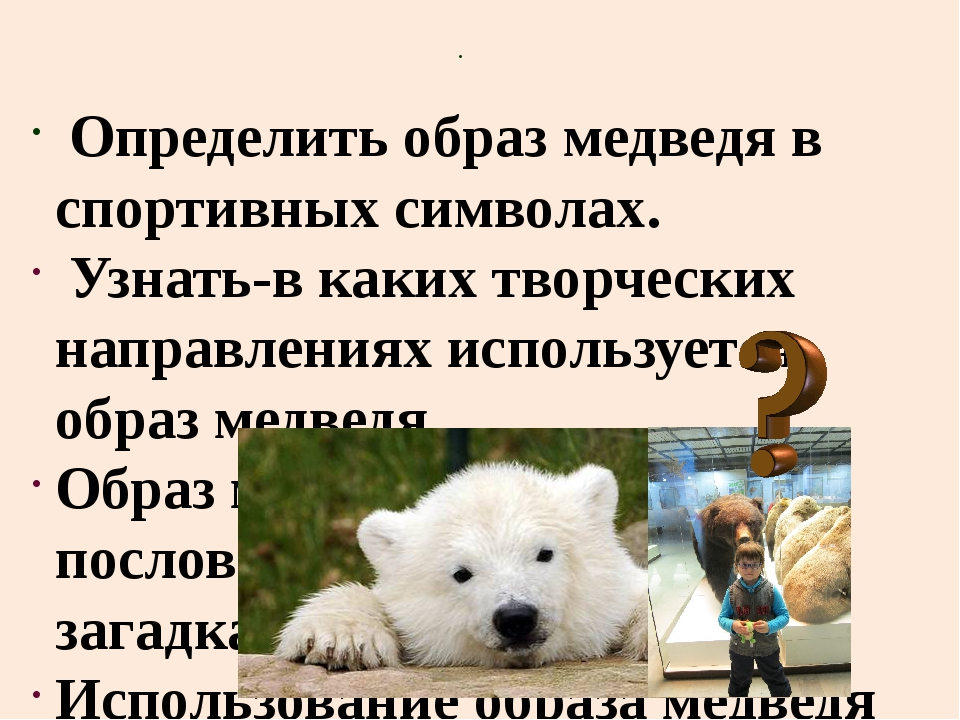 Определить образ медведя в спортивных символах. Узнать-в каких творческих на...