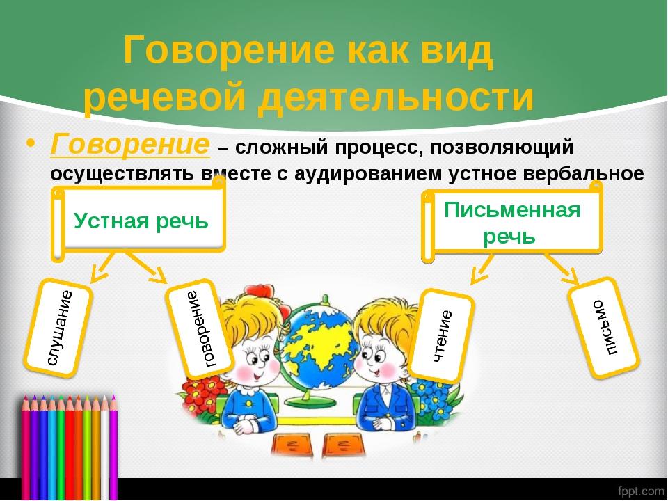 Говорение как вид речевой деятельности Говорение – сложный процесс, позволяющ...