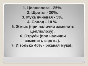 * 1. Целлюлоза - 25%. 2. Шроты - 20%. 3. Мука ячневая - 5%. 4. Солод - 10 %.