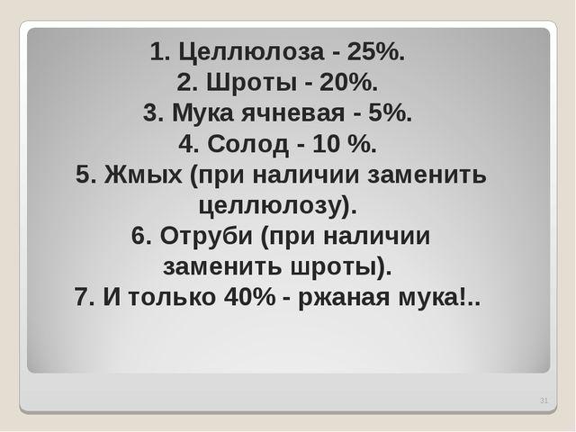 * 1. Целлюлоза - 25%. 2. Шроты - 20%. 3. Мука ячневая - 5%. 4. Солод - 10 %....