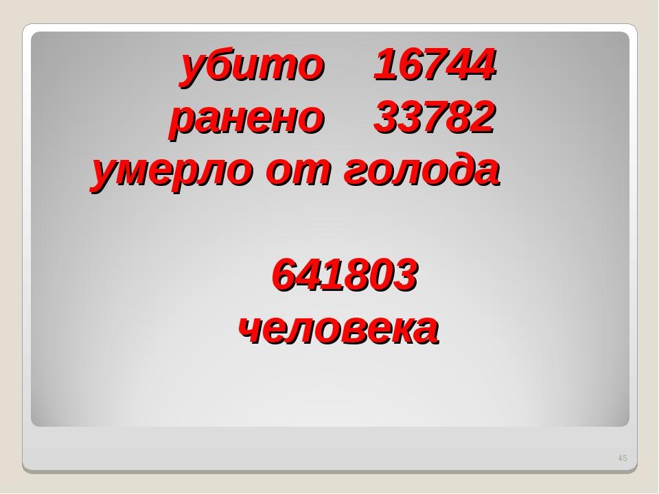 убито 16744 ранено 33782 умерло от голода 641803 человека *