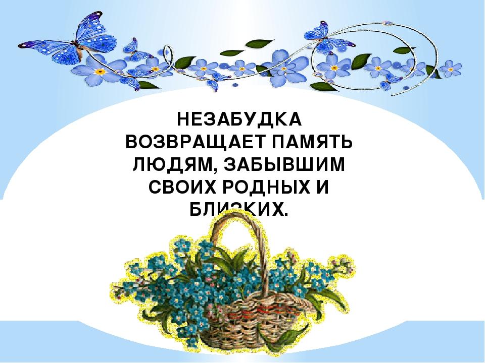 НЕЗАБУДКА ВОЗВРАЩАЕТ ПАМЯТЬ ЛЮДЯМ, ЗАБЫВШИМ СВОИХ РОДНЫХ И БЛИЗКИХ.