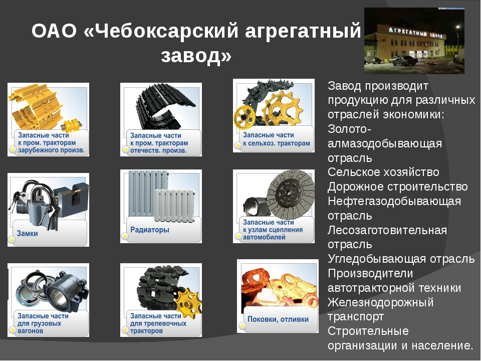 ОАО «Чебоксарский агрегатный завод» Завод производит продукцию для различных...