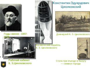 Рабочий кабинет К. Э.Циолковского Космический корабль К. Э. Циолковского Дом-