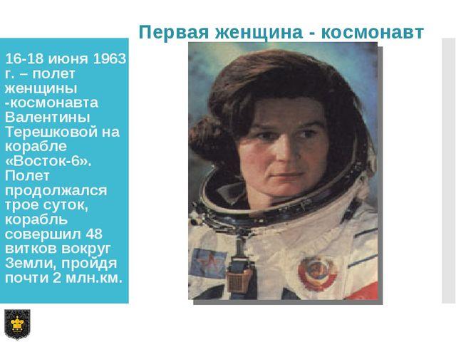 16-18 июня 1963 г. – полет женщины -космонавта Валентины Терешковой на корабл...