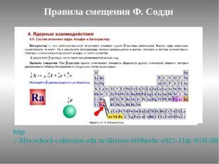 Правила смещения Ф. Содди http://files.school-collection.edu.ru/dlrstore/669b