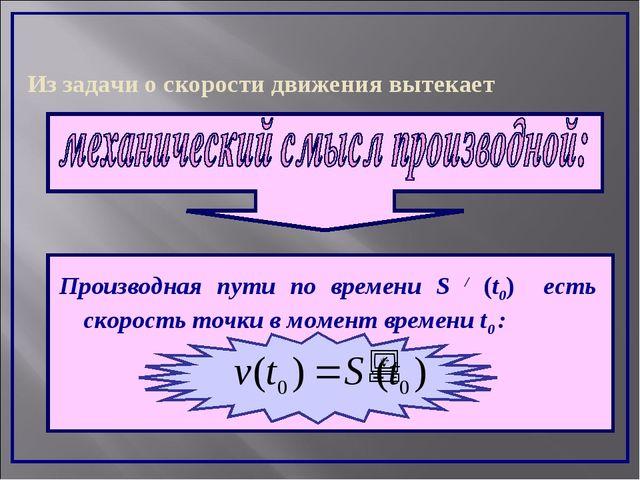 Из задачи о скорости движения вытекает Производная пути по времени S / (t0) е...