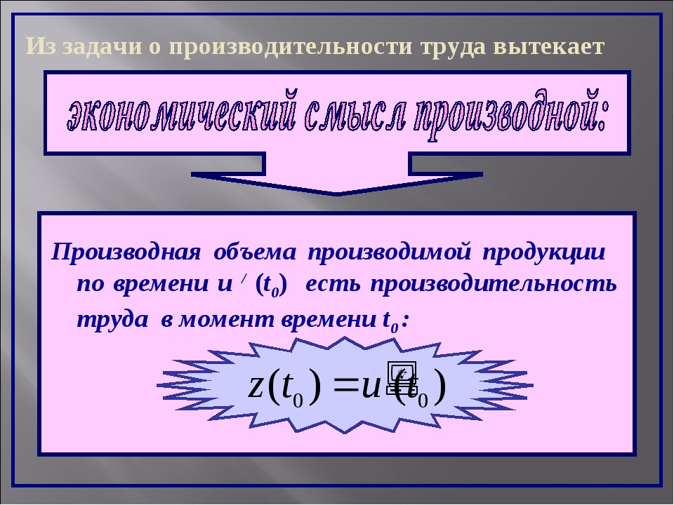 Производная объема производимой продукции по времени u / (t0) есть производит...