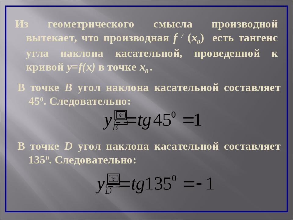 Из геометрического смысла производной вытекает, что производная f / (x0) есть...