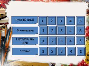 Русский язык Математика Чтение Окружающий мир 1 2 3 4 5 1 2 3 4 5 1 2 3 4 5 1