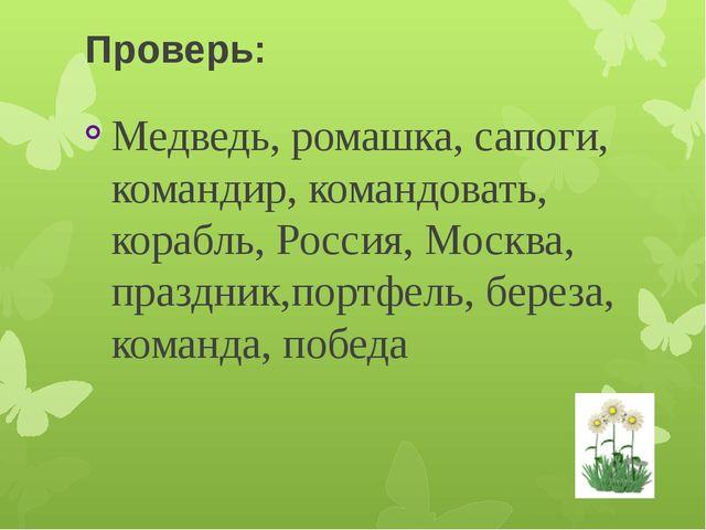 Проверь: Медведь, ромашка, сапоги, командир, командовать, корабль, Россия, Мо...