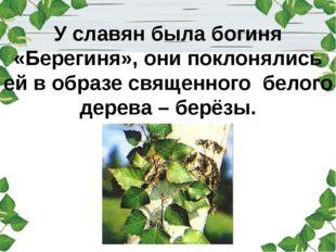 У славян была богиня «Берегиня», они поклонялись ей в образе священного бело