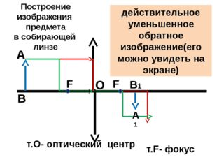 т.О- оптический центр О F т.F- фокус F А А1 В В1 Построение изображения предм