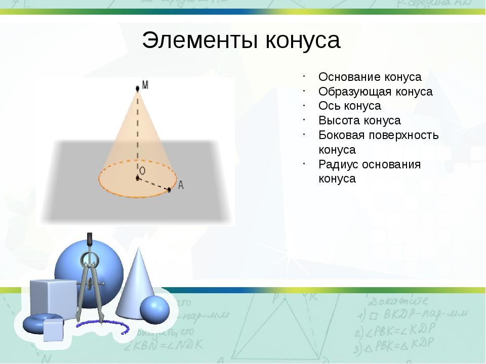 Элементы конуса Основание конуса Образующая конуса Ось конуса Высота конуса Б...
