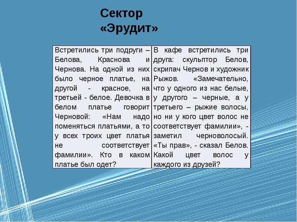 Сектор «Эрудит» Встретились три подруги – Белова, Краснова и Чернова. На одно...