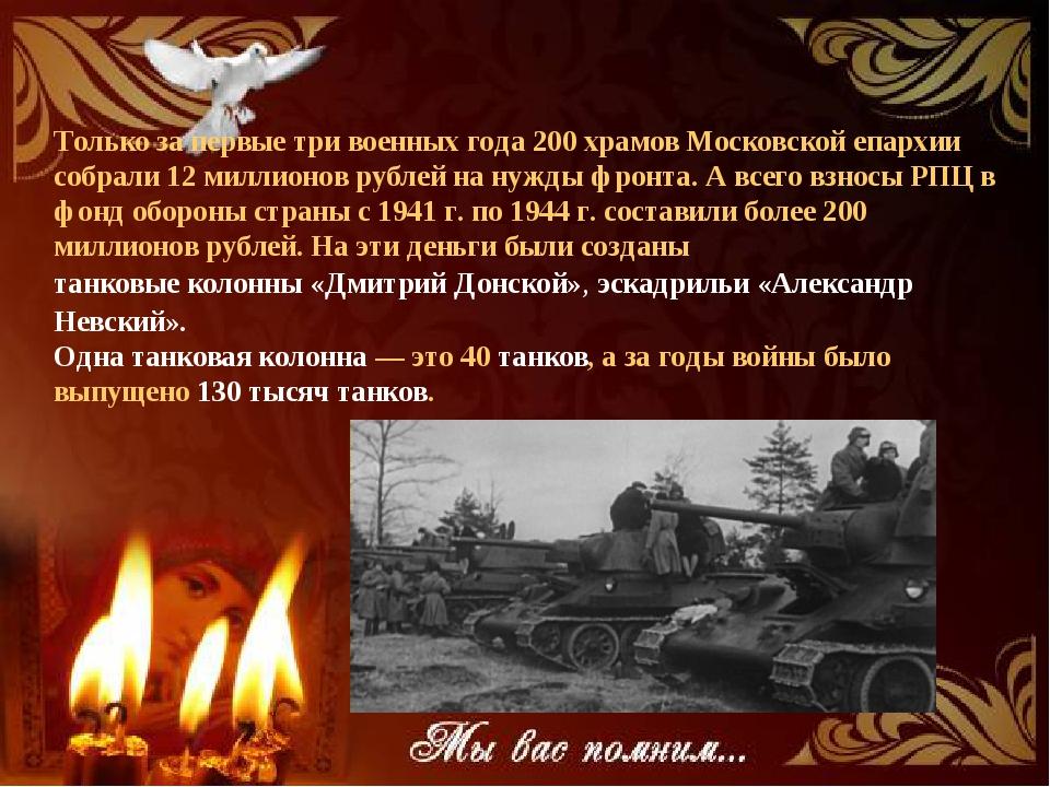 Только за первые три военных года 200 храмов Московской епархии собрали 12 ми...