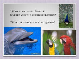 Кто из вас хотел бы ещё больше узнать о жизни животных? 2)Как ты собираешься