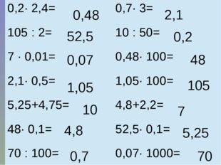 0,48 48 4,8 7 0,07 70 0,7 2,1 1,05 105 52,5 5,25 10 0,2 0,2· 2,4= 0,7· 3= 10