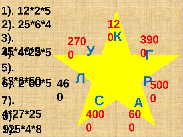2). 25*6*4 3). 25*40*5 1). 12*2*5 4). 4*23*5 460 5). 13*6*50 6). 2*60*5 7)....