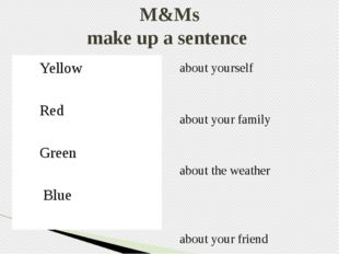 M&Ms make up a sentence Yellow Red Green Blue  about yourself about your fam